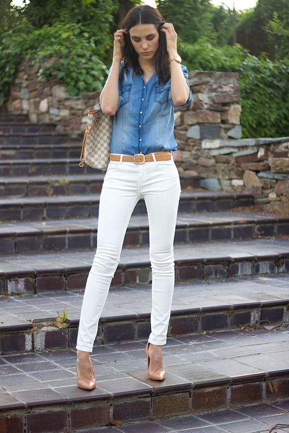 Denim Top and White Pants via