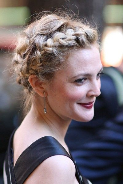 Drew Barrymore Crown Braid via