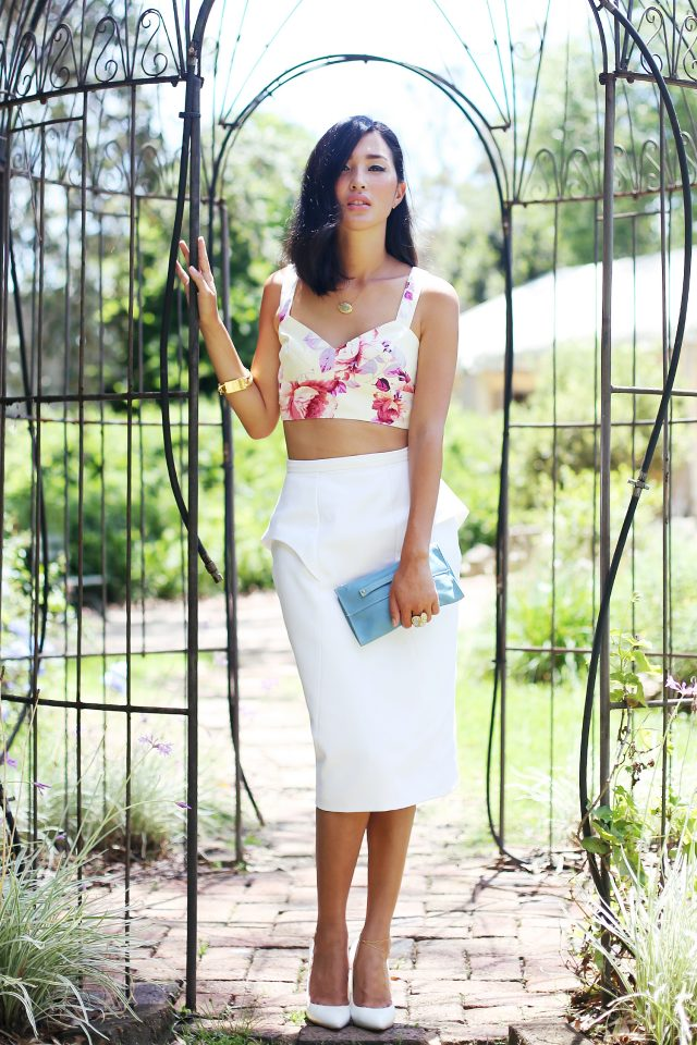 Floral Crop Top and White Skirt via