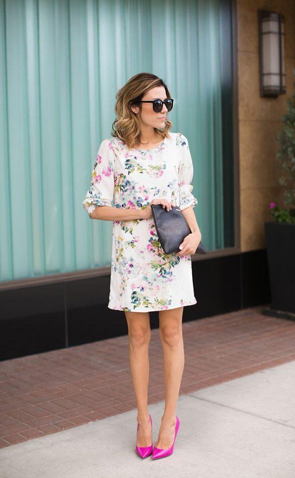 Floral Dress and Pink Pumps via