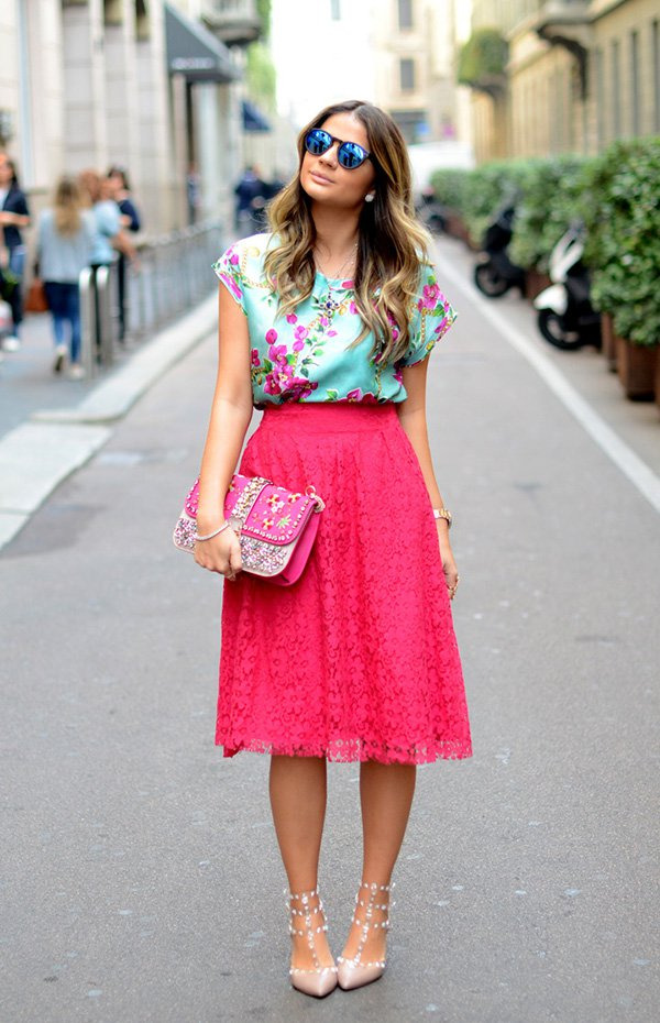 Floral Top and Pink Skirt via
