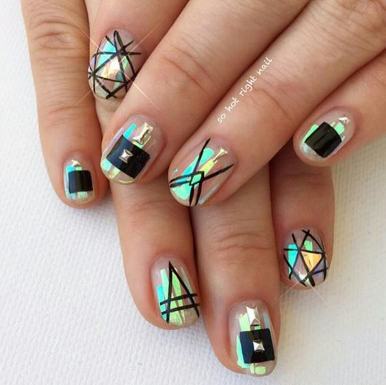 Geometric Nails with Glitter via