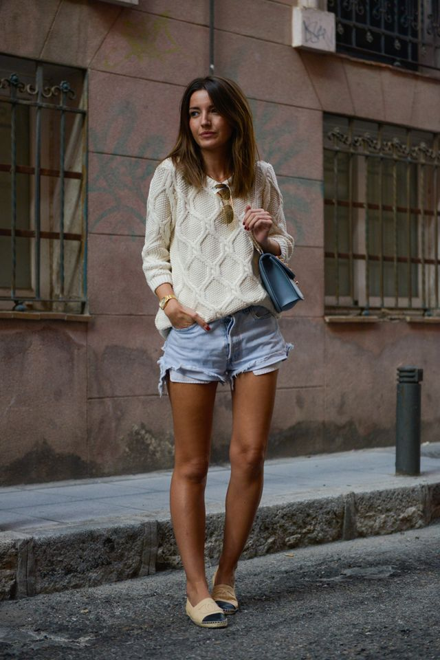 Geometric Sweater and Pale Shorts via
