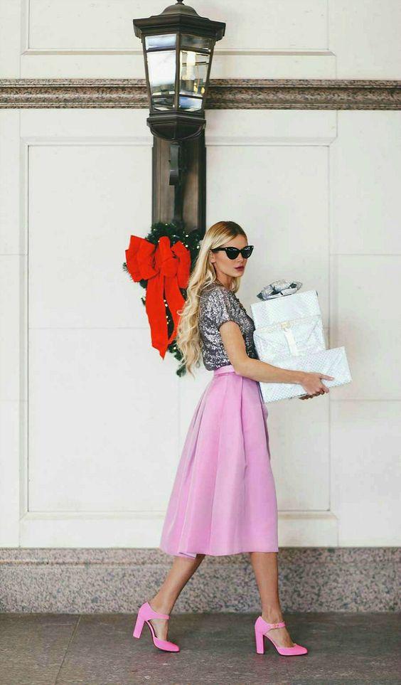 Glitter Top and Pink Skirt via