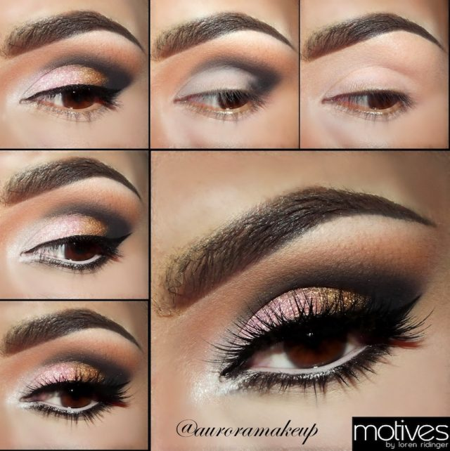 Golden Pink Eye Makeup via