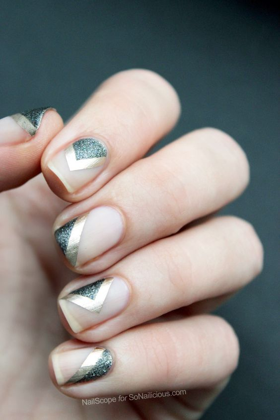 Golden and Sliver Glitter Nails via
