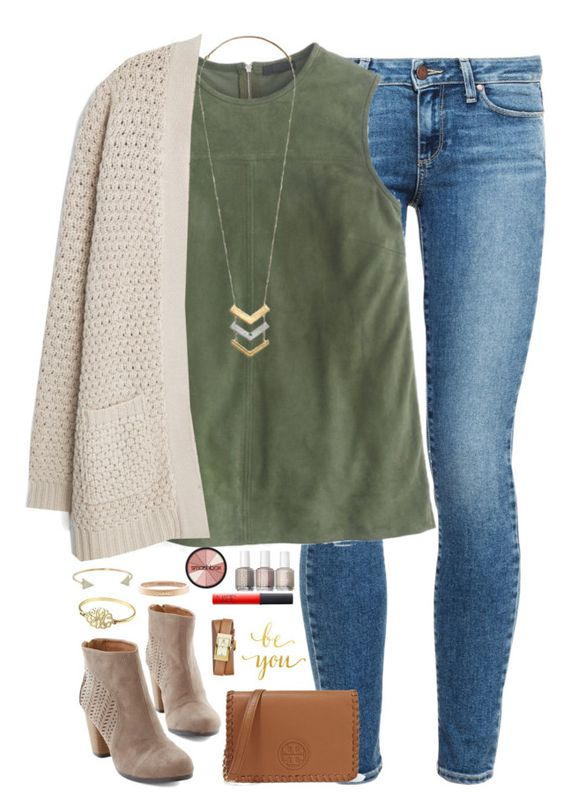 Green Top, Jeans and White Cardigan via