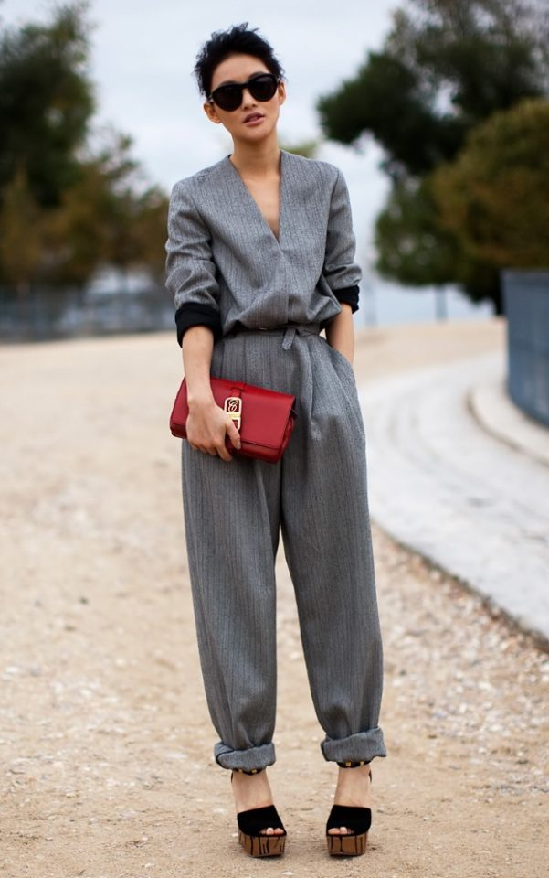 Grey Jumpsuit with Wedges via
