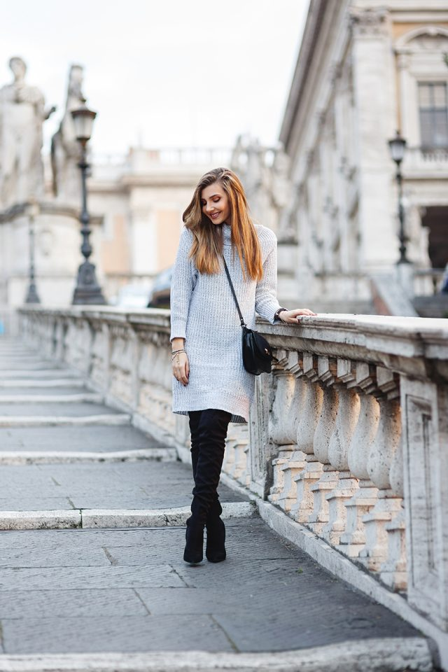 Grey Knit Dress and Black Boots via