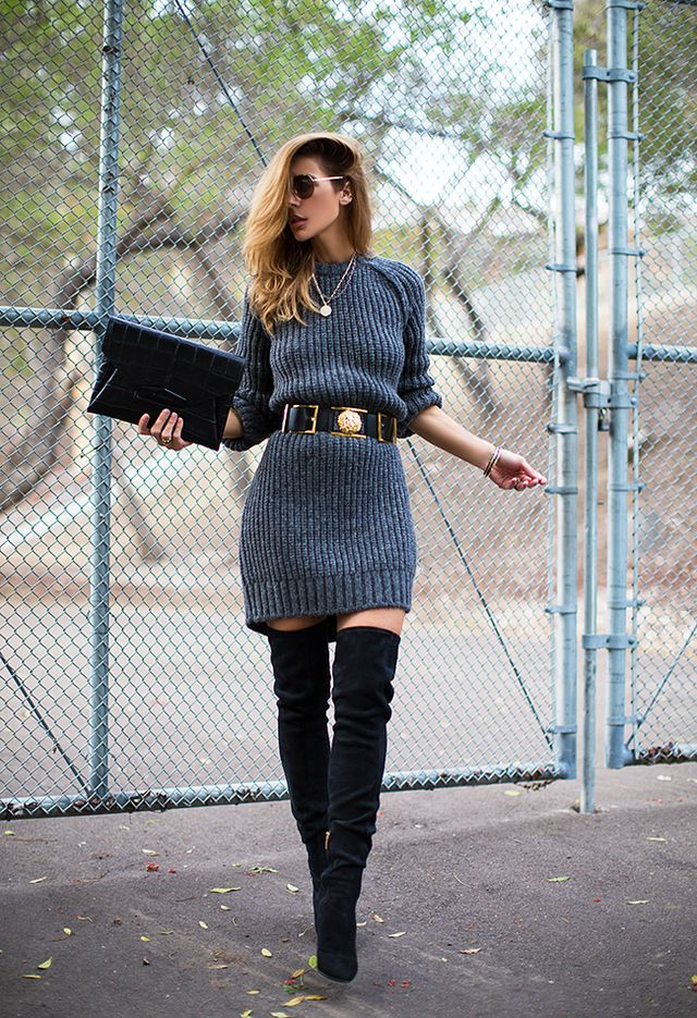 Grey Knit Dress and Waist Belt via