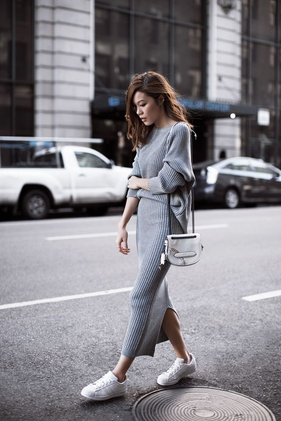 Grey Knit Dress and White Shoes via