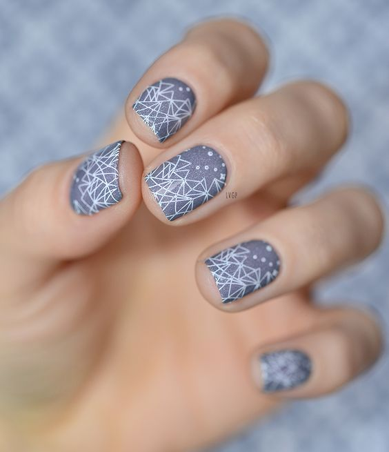 Grey Nails with Triangles via