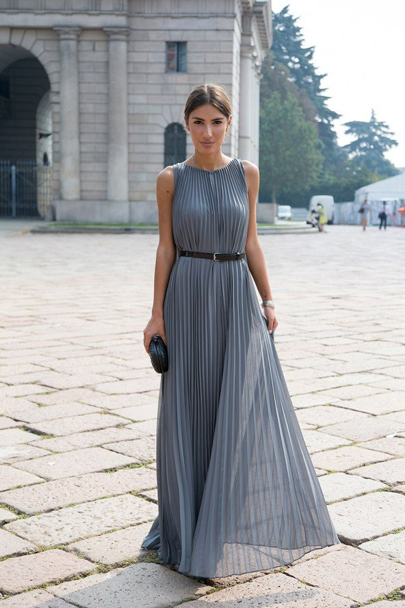Grey Pleated Dress via