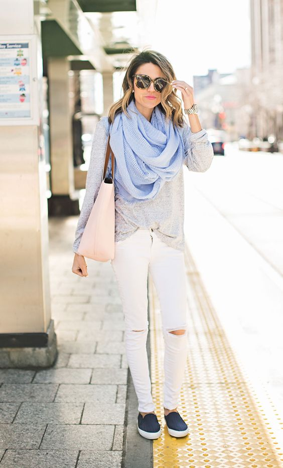 Grey Top, White Pants and Blue Scarf via