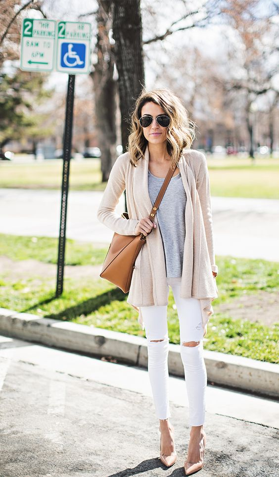 Grey Top, White Pants and Cardigan via