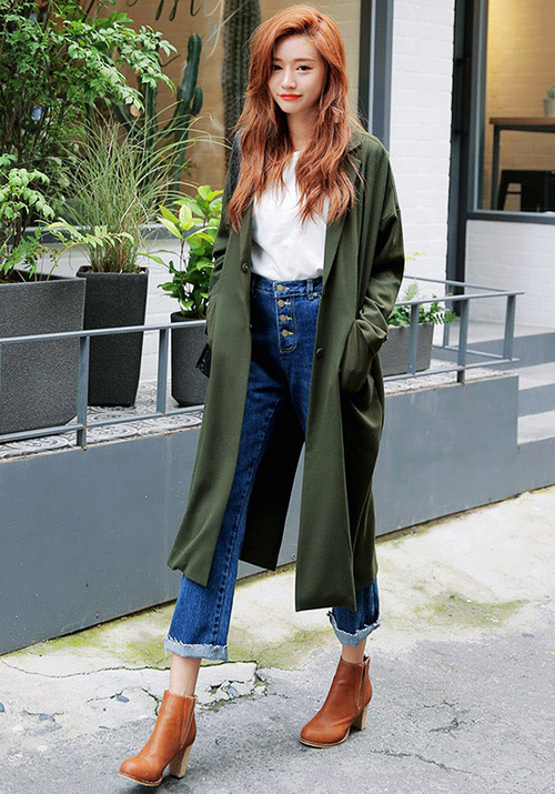 High Waist Jeans and Green Trench Coat via