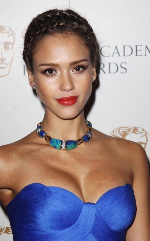 Jessica Alba Crown Braid via