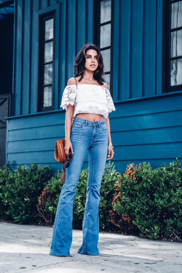 Lace Crop Top and Flare Jeans via