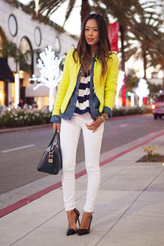 Layers and White Pants via