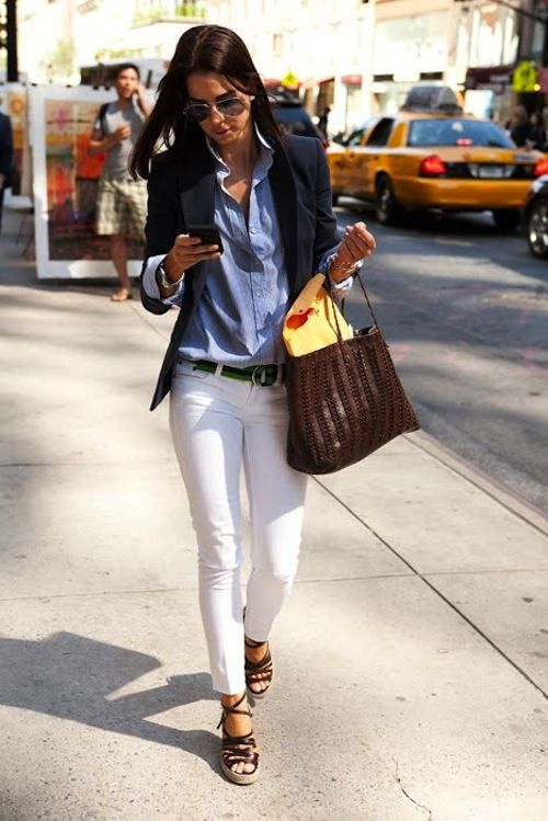 Layers with White Pants via
