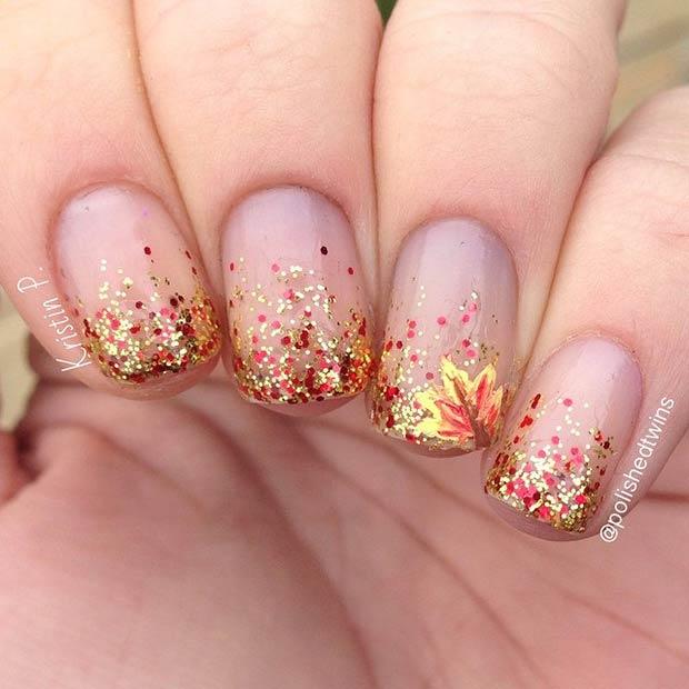 Maple Glitter Nails via