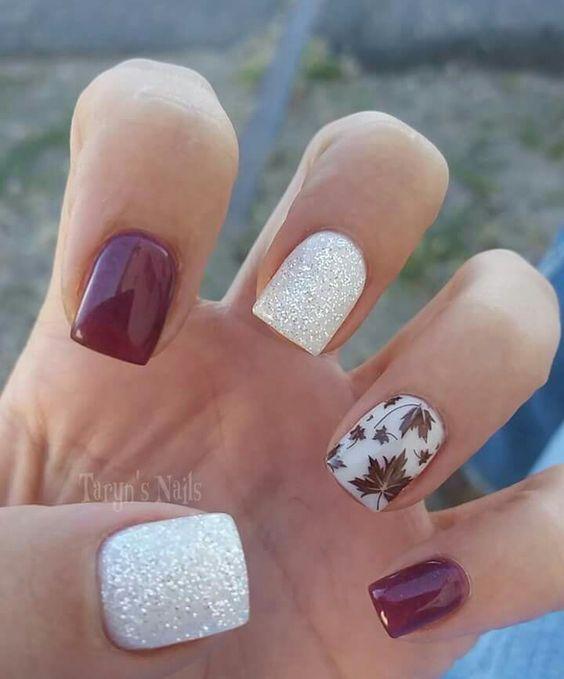 Maple Sliver Glitter Nails via