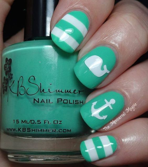 Mint and White Nails via