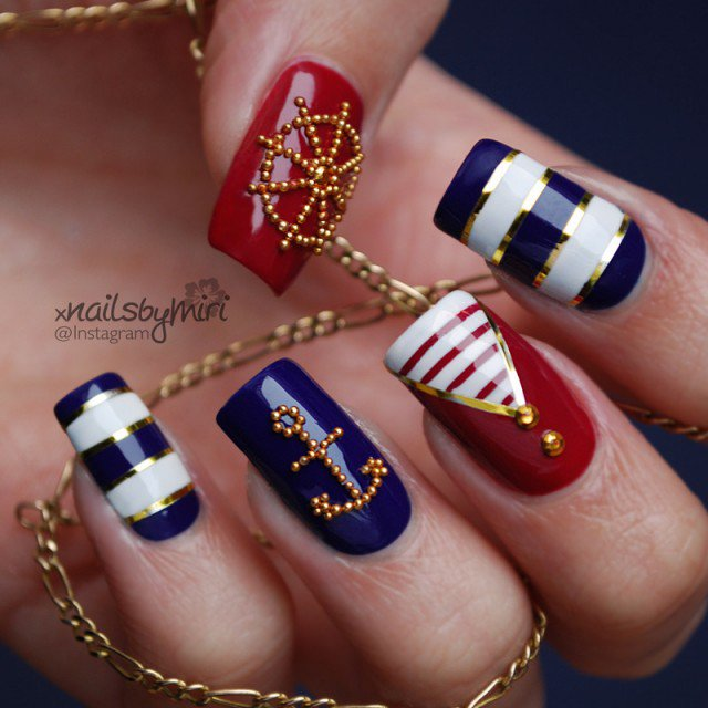 Nautical Nails with Jewels via