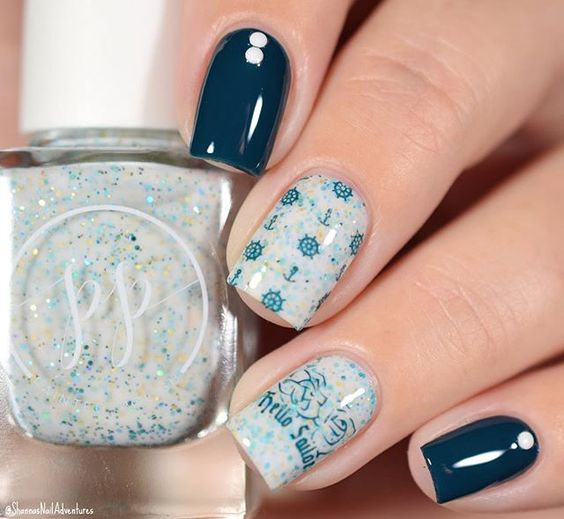 Nautical Nails with Rudder Stamps via
