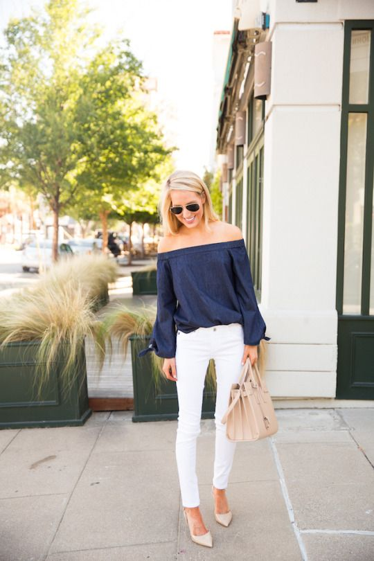 Navy Off-shoulder Top and White Pants via