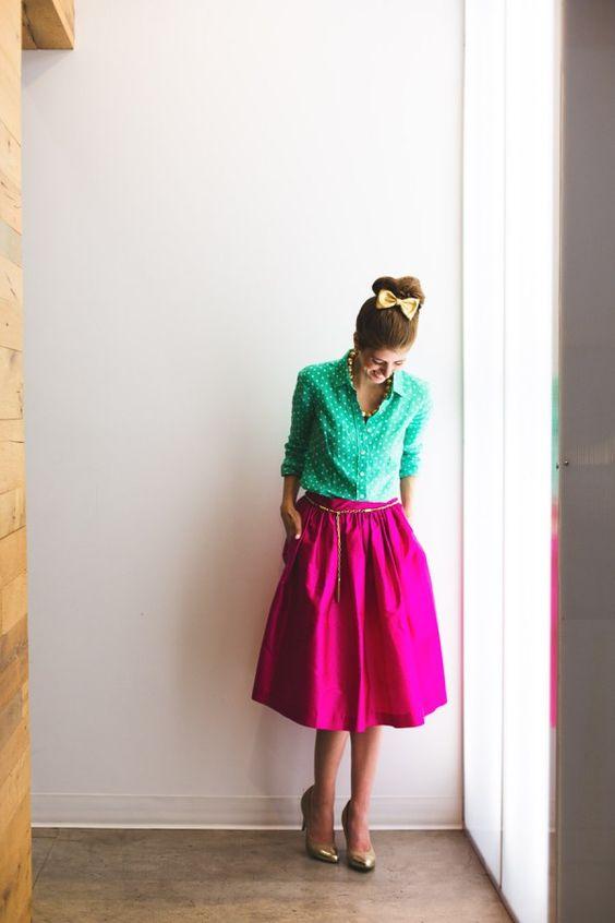 Neon Green Top and Pink Skirt via