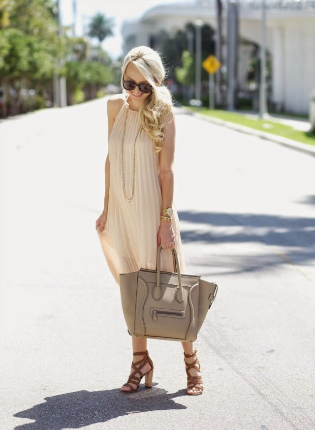 Nude Dress and Brown Sandals via