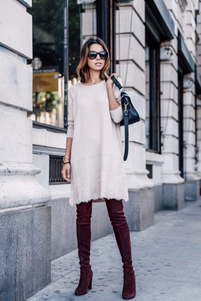 Nude Knit Dress and Red Boots via
