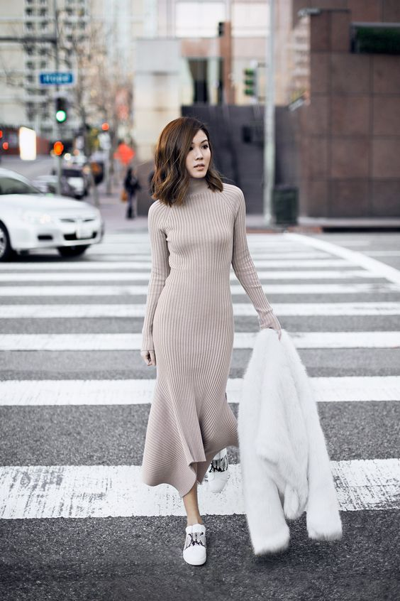 Nude Knit Dress and White Shoes via