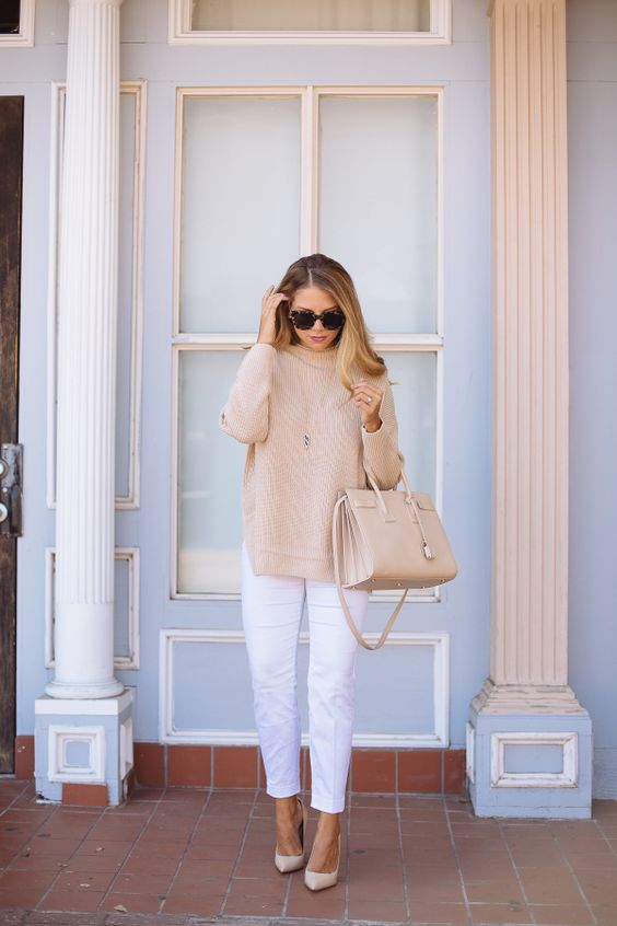 Nude Sweater and White Pants via