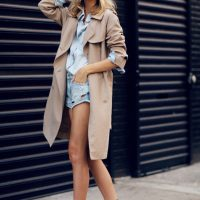 Nude Trench Coat with Pale Blue Outfit via