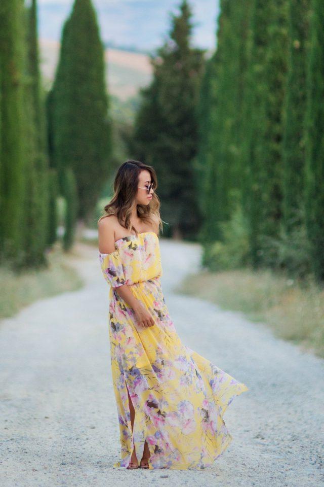 Off-shoulder Maxi Dress via