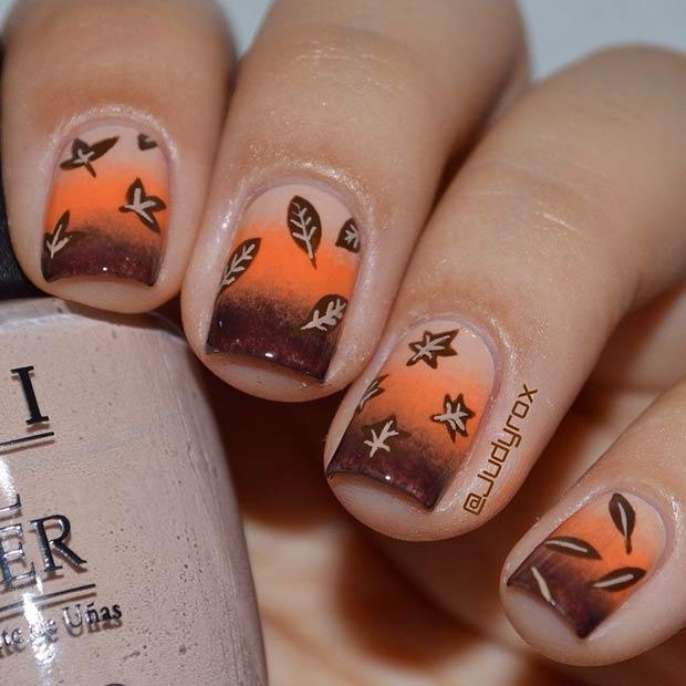 Ombre Leave Nails via