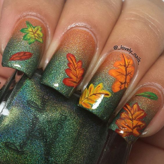 Ombre Nails with Leaves via