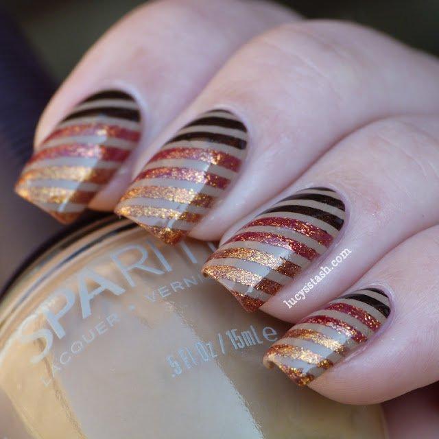 Ombre Striped Nails via