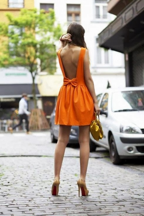 Orange Backless Dress via