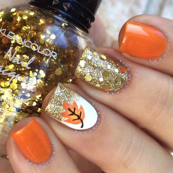 Orange Nails with Glitter via