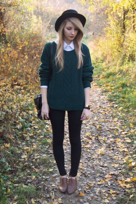 Oversized Green Sweater and White Shirt via
