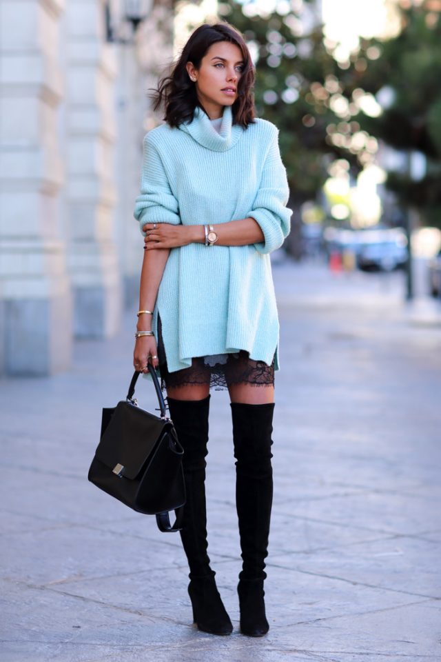 Pale Blue Knit Dress and Black Boots via