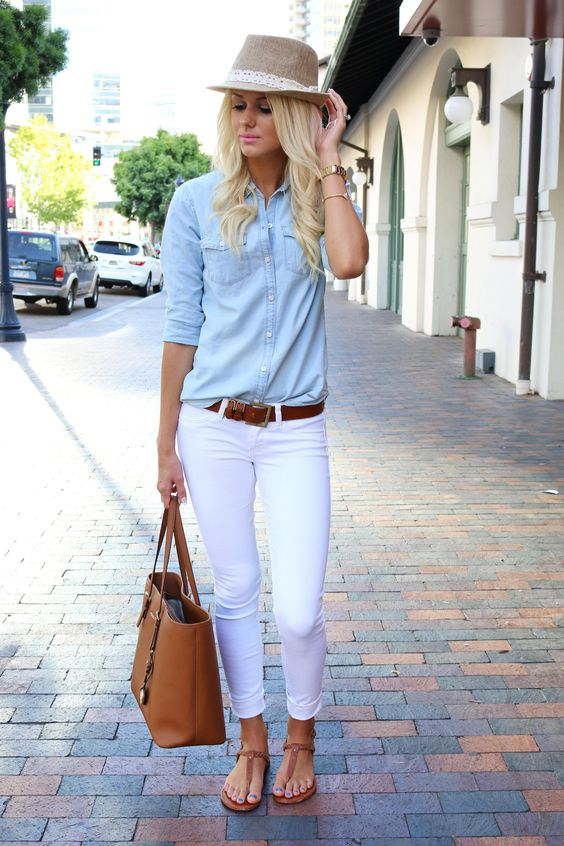 Pale Blue Top and White Pants via