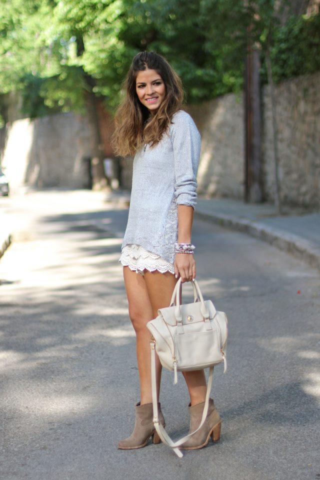 Pale Top and Lace Shorts via