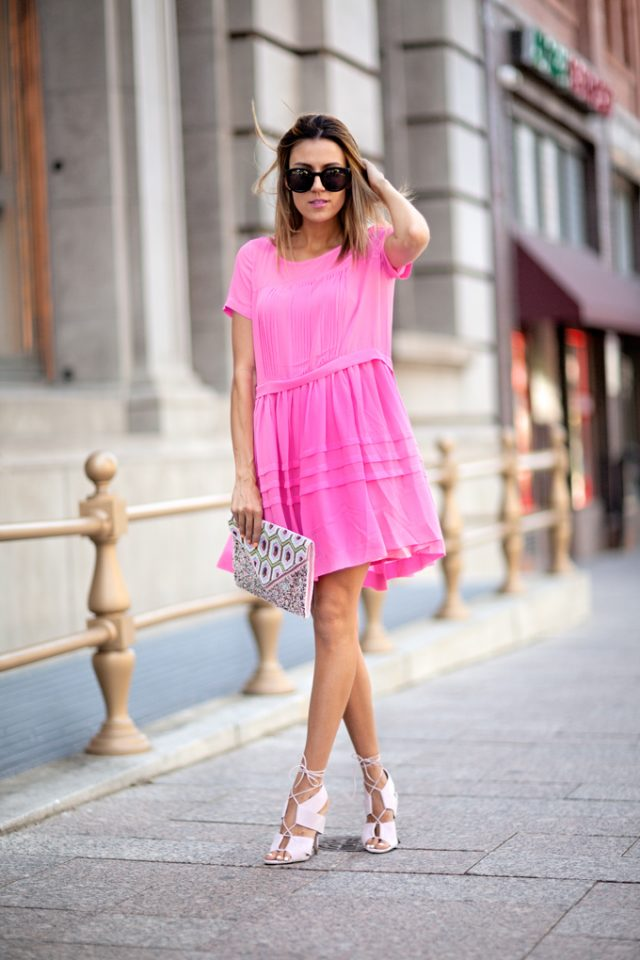 Pink Dress and Geometric Clutch via