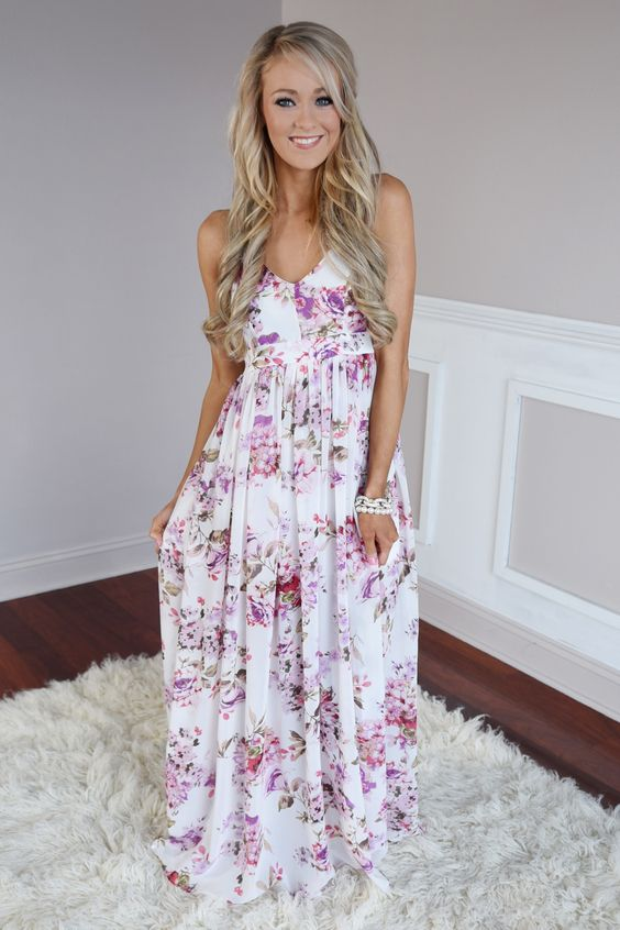 Pink Floral Maxi Dress via