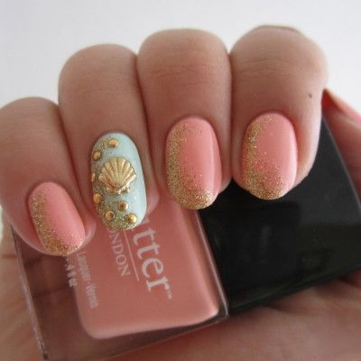 Pink Nails with Golden Sands via
