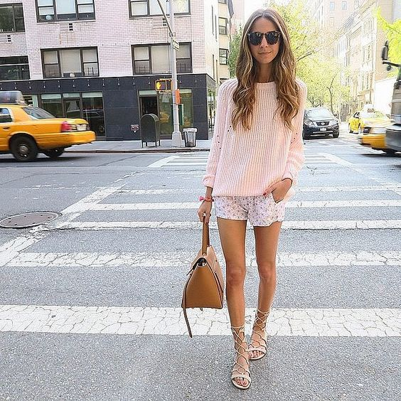 Pink Sweater and Shorts via